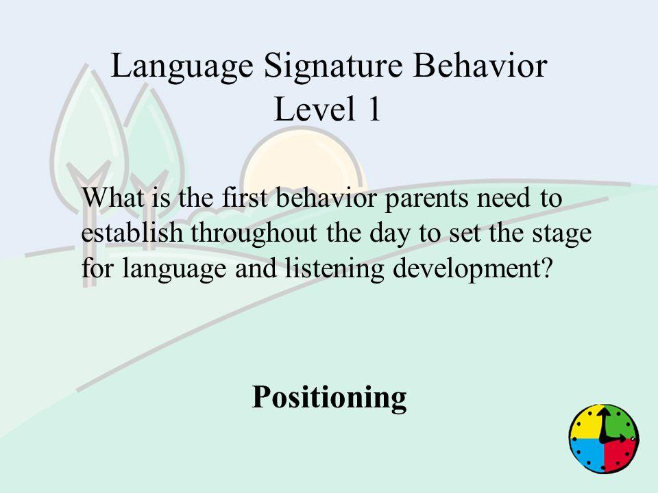 Language Signature Behavior Level 1
