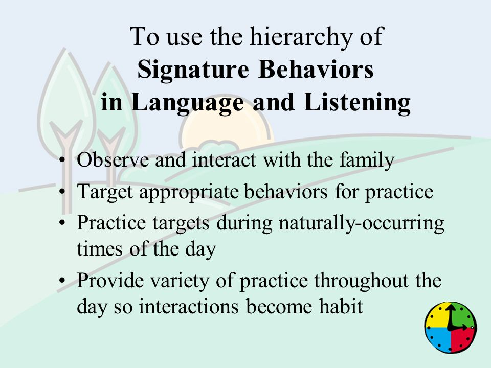 To use the hierarchy of Signature Behaviors in Language and Listening