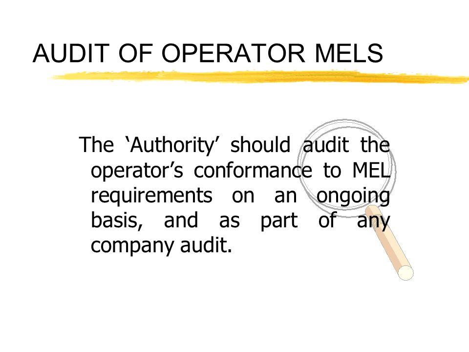 AUDIT OF OPERATOR MELS