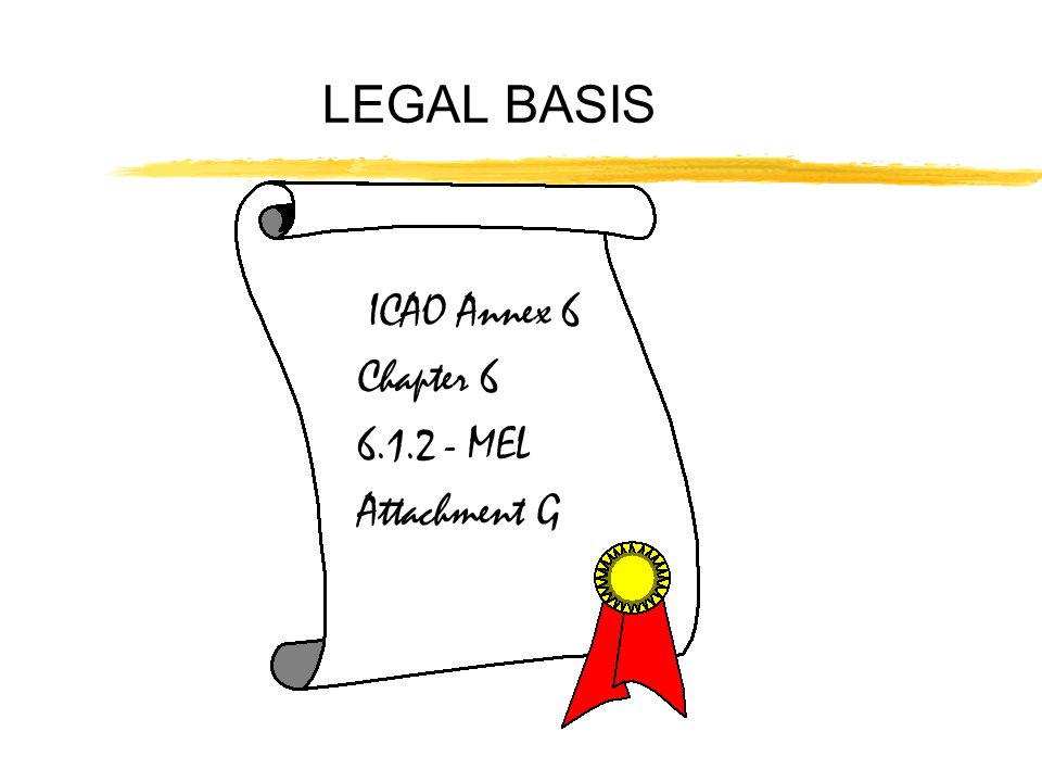 LEGAL BASIS ICAO Annex 6 Chapter MEL Attachment G