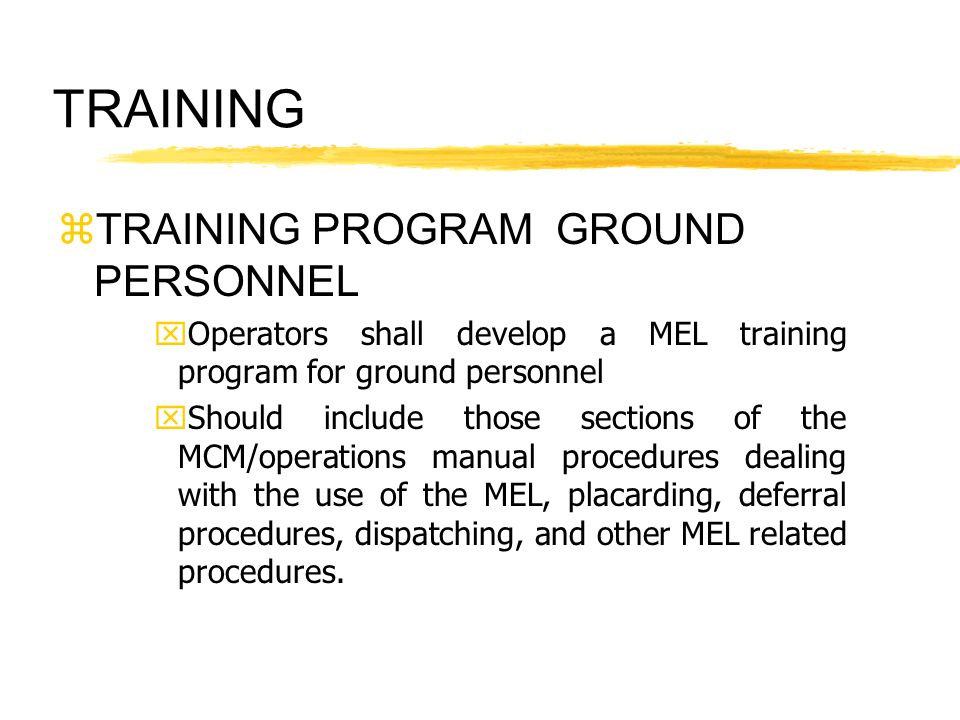 TRAINING TRAINING PROGRAM GROUND PERSONNEL