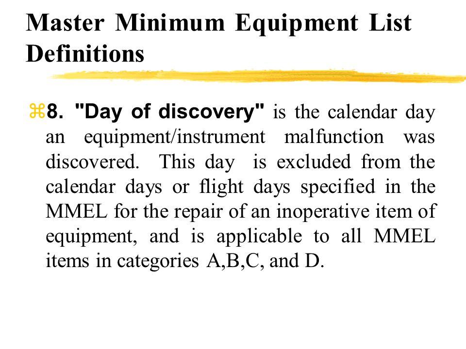 Master Minimum Equipment List Definitions