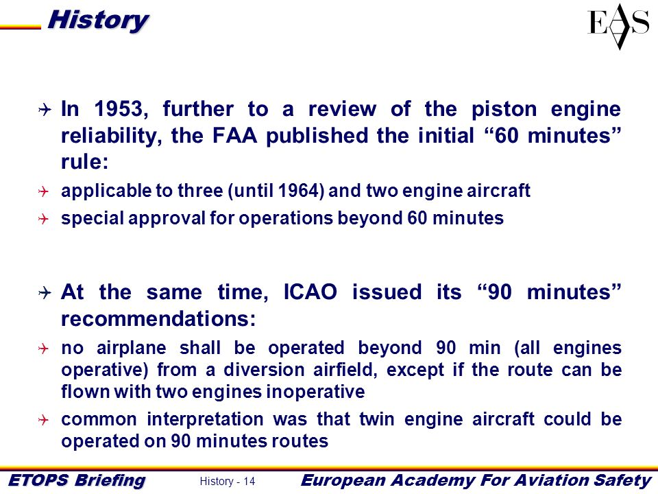 History In 1953, further to a review of the piston engine reliability, the FAA published the initial 60 minutes rule:
