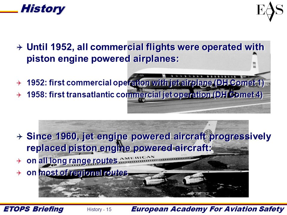 History Until 1952, all commercial flights were operated with piston engine powered airplanes: