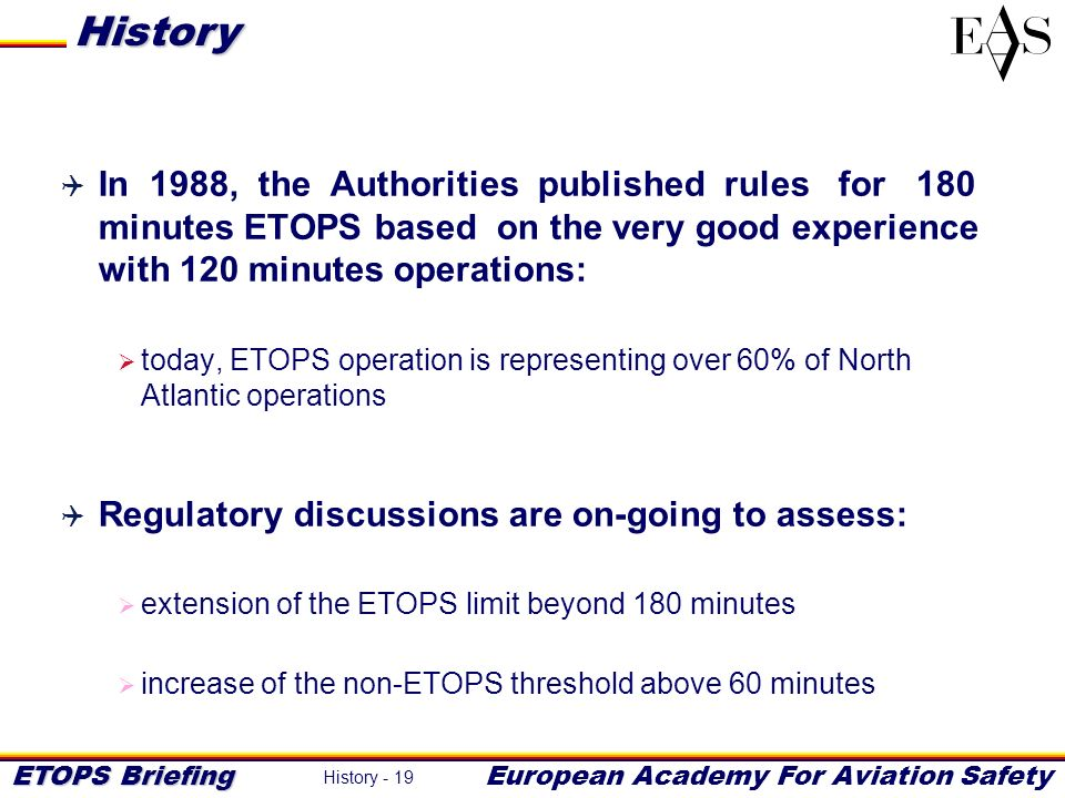 History In 1988, the Authorities published rules for 180 minutes ETOPS based on the very good experience with 120 minutes operations: