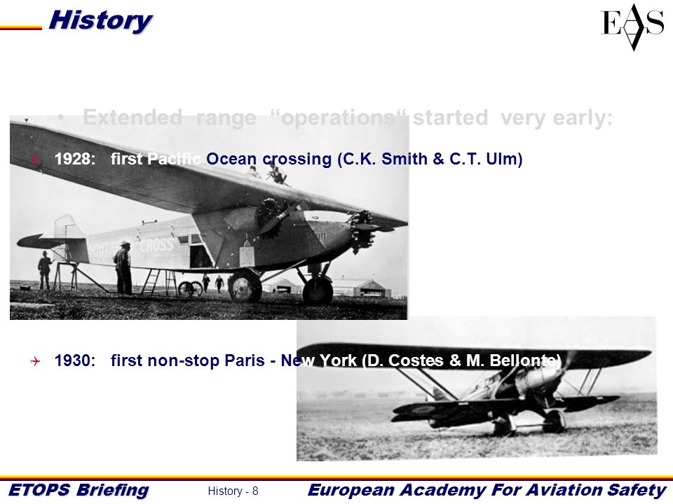 History Extended range operations started very early: