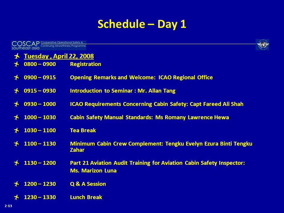 Schedule – Day 1 Tuesday , April 22, 2008 0800 – 0900 Registration