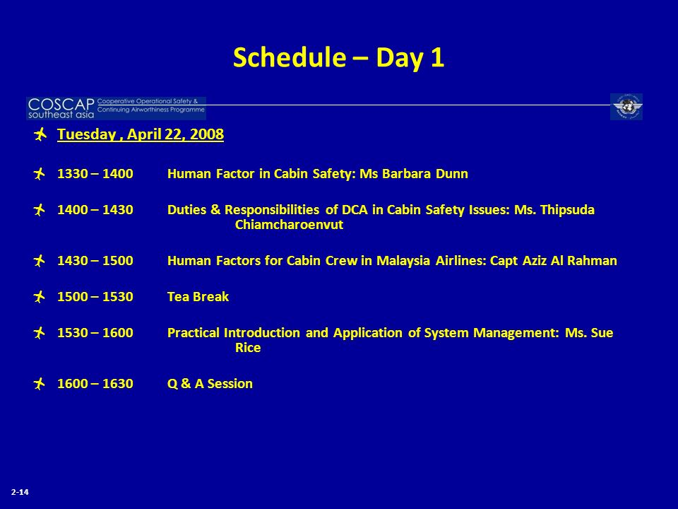 Schedule – Day 1 Tuesday , April 22, 2008