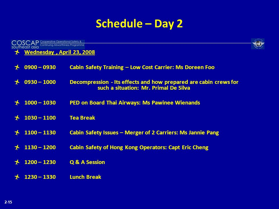 Schedule – Day 2 Wednesday , April 23, 2008