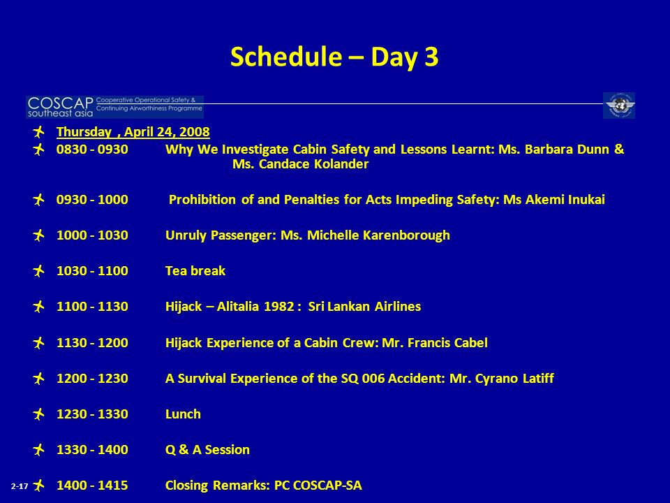 Schedule – Day 3 Thursday , April 24, 2008