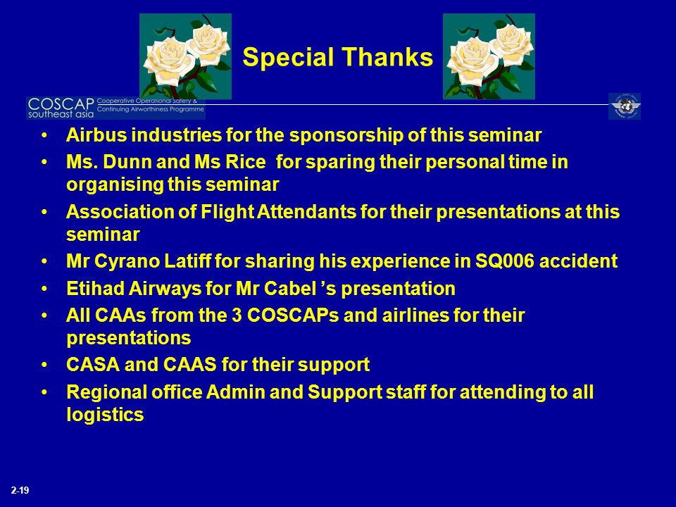 Special Thanks Airbus industries for the sponsorship of this seminar