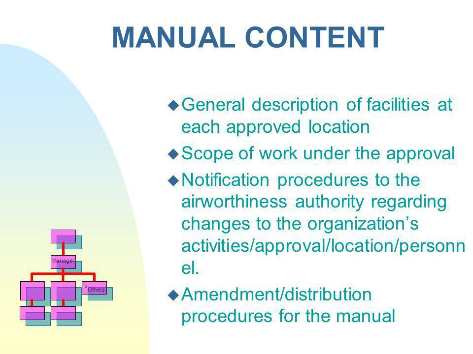 MANUAL CONTENT General description of facilities at each approved location. Scope of work under the approval.