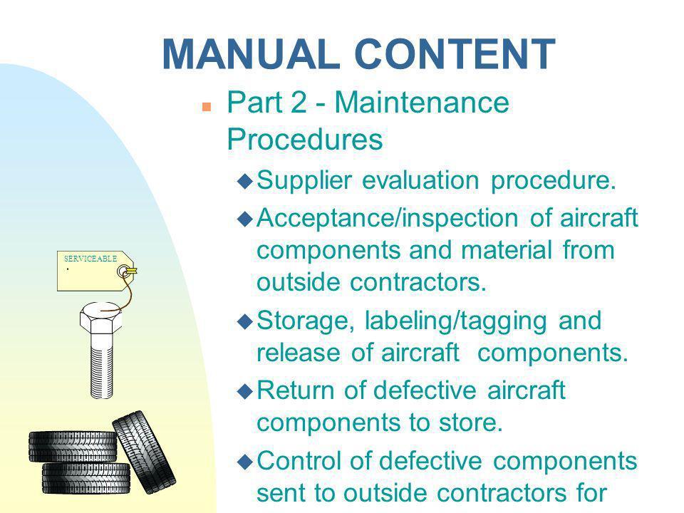 MANUAL CONTENT Part 2 - Maintenance Procedures
