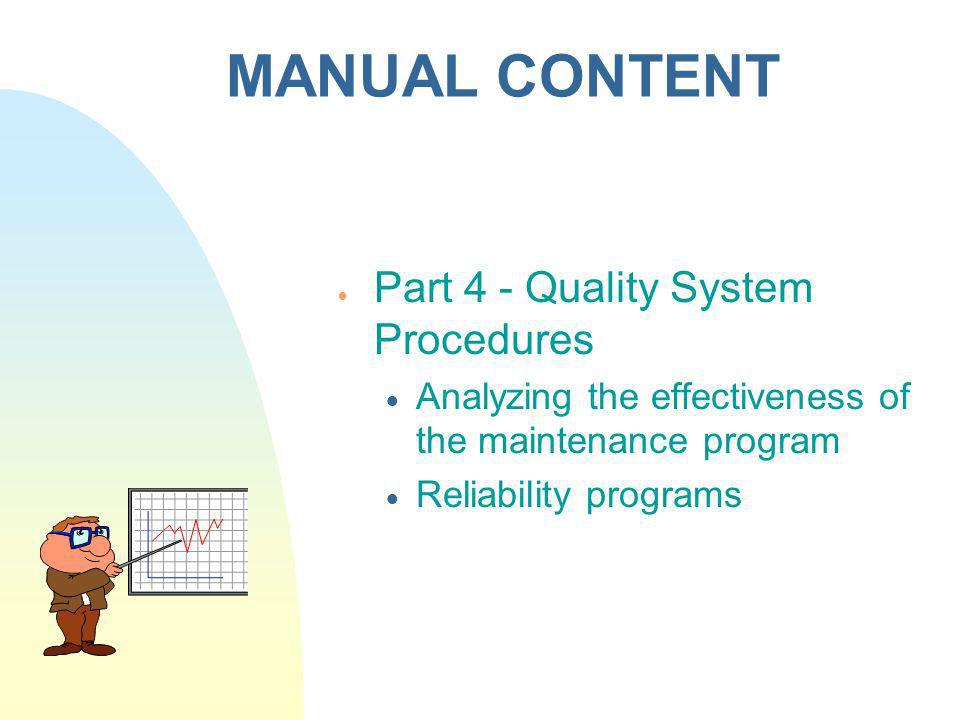 MANUAL CONTENT Part 4 - Quality System Procedures
