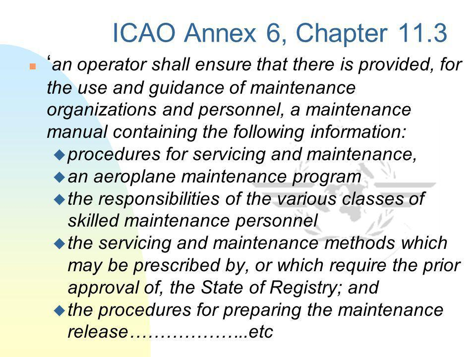 ICAO Annex 6, Chapter 11.3
