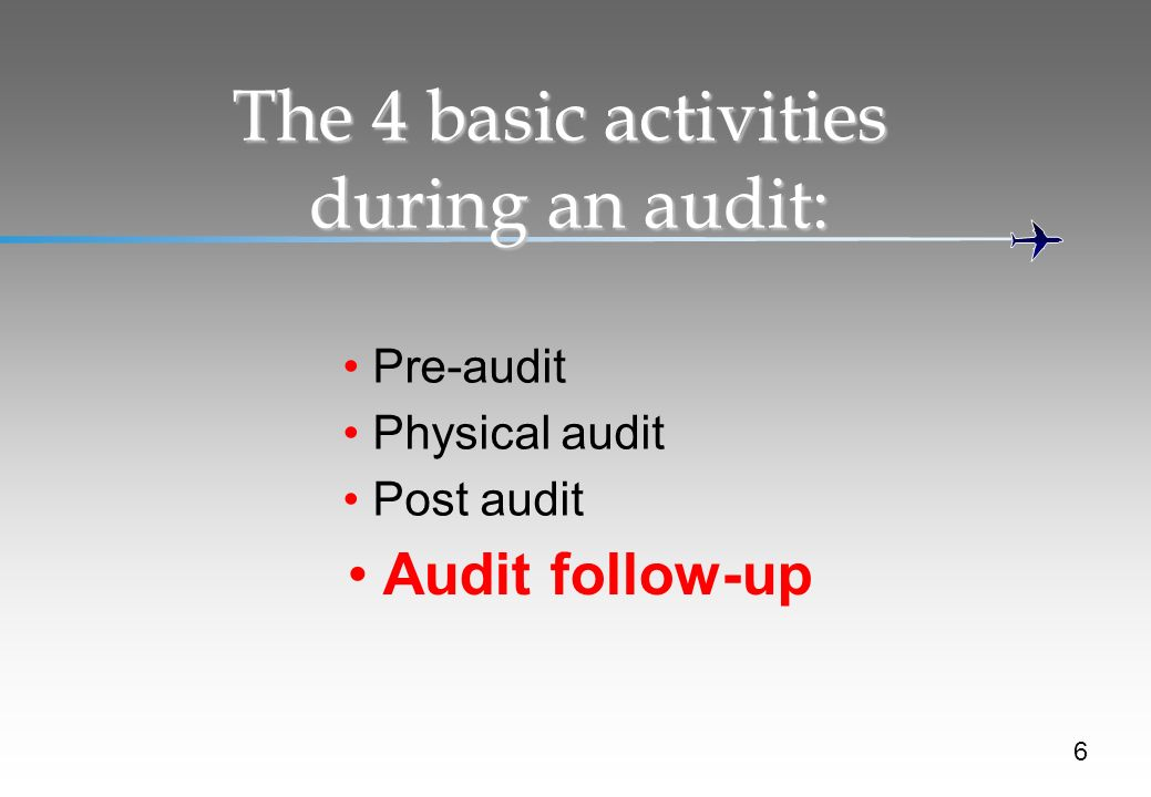 The 4 basic activities during an audit:
