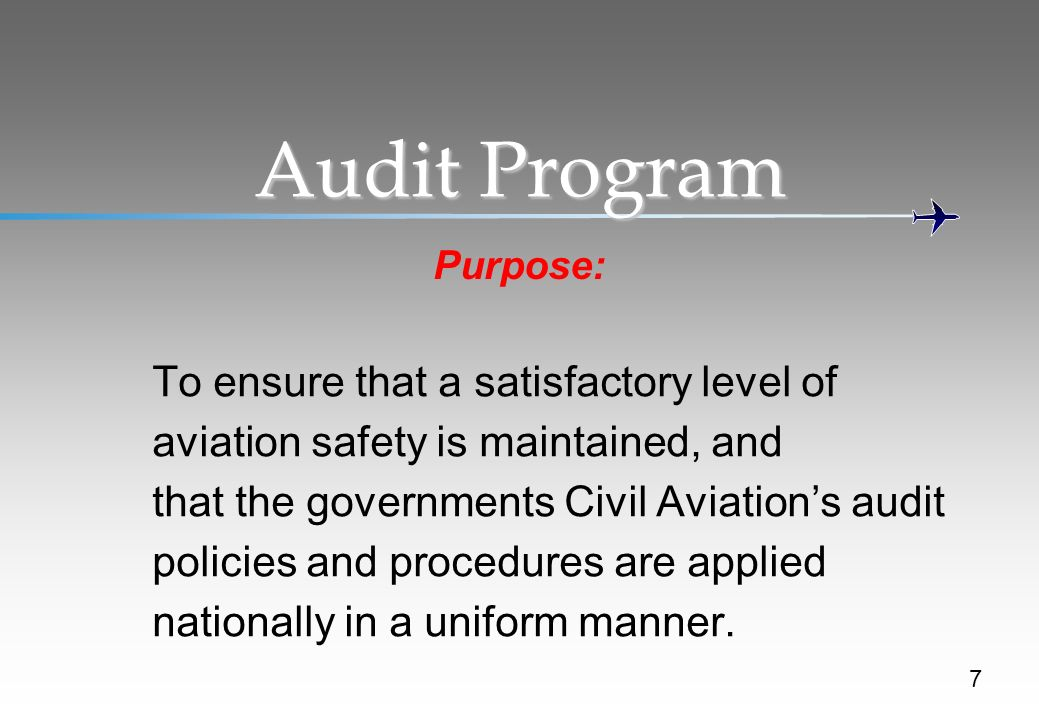 Audit Program To ensure that a satisfactory level of