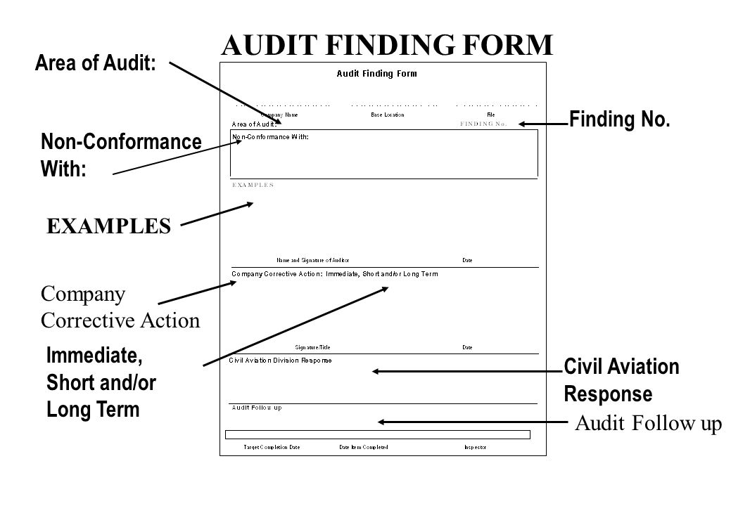 AUDIT FINDING FORM Area of Audit: Finding No. Non-Conformance With: