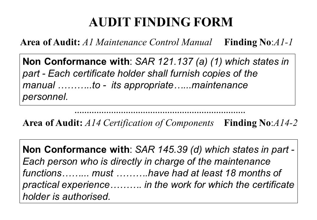 AUDIT FINDING FORM Area of Audit: A1 Maintenance Control Manual Finding No:A1-1.