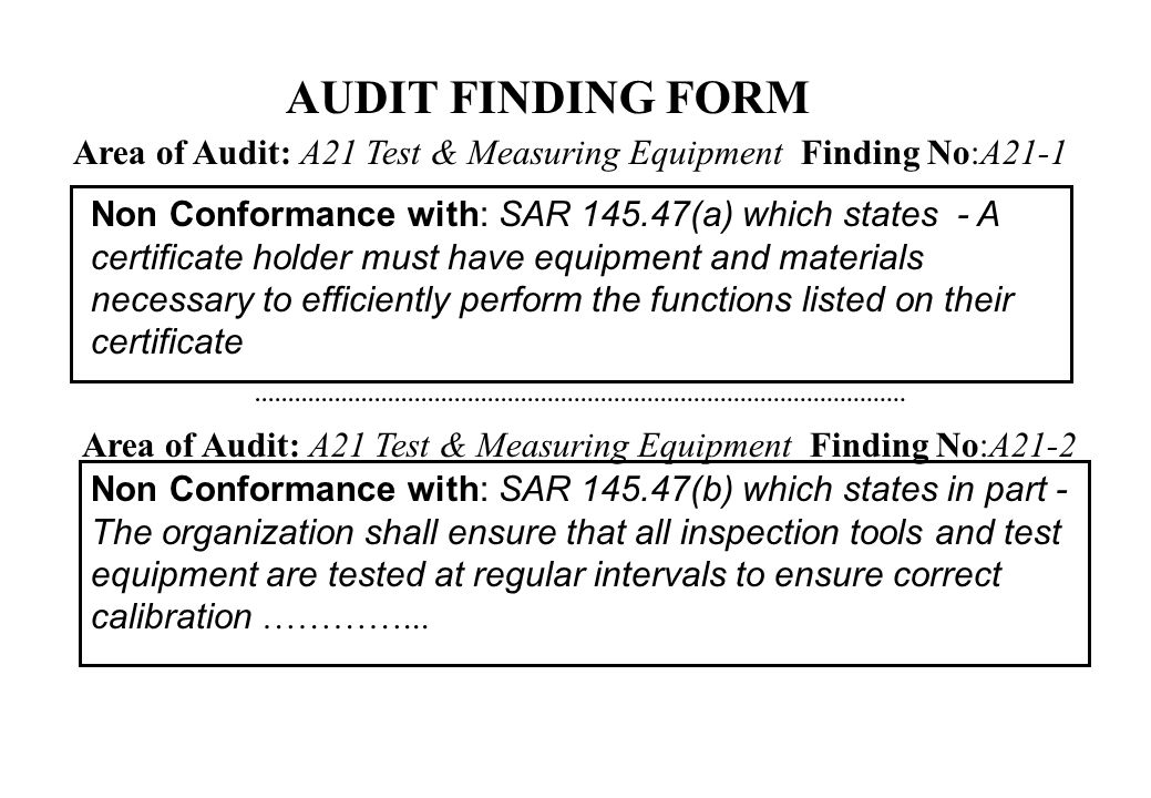 AUDIT FINDING FORM Area of Audit: A21 Test & Measuring Equipment Finding No:A21-1.
