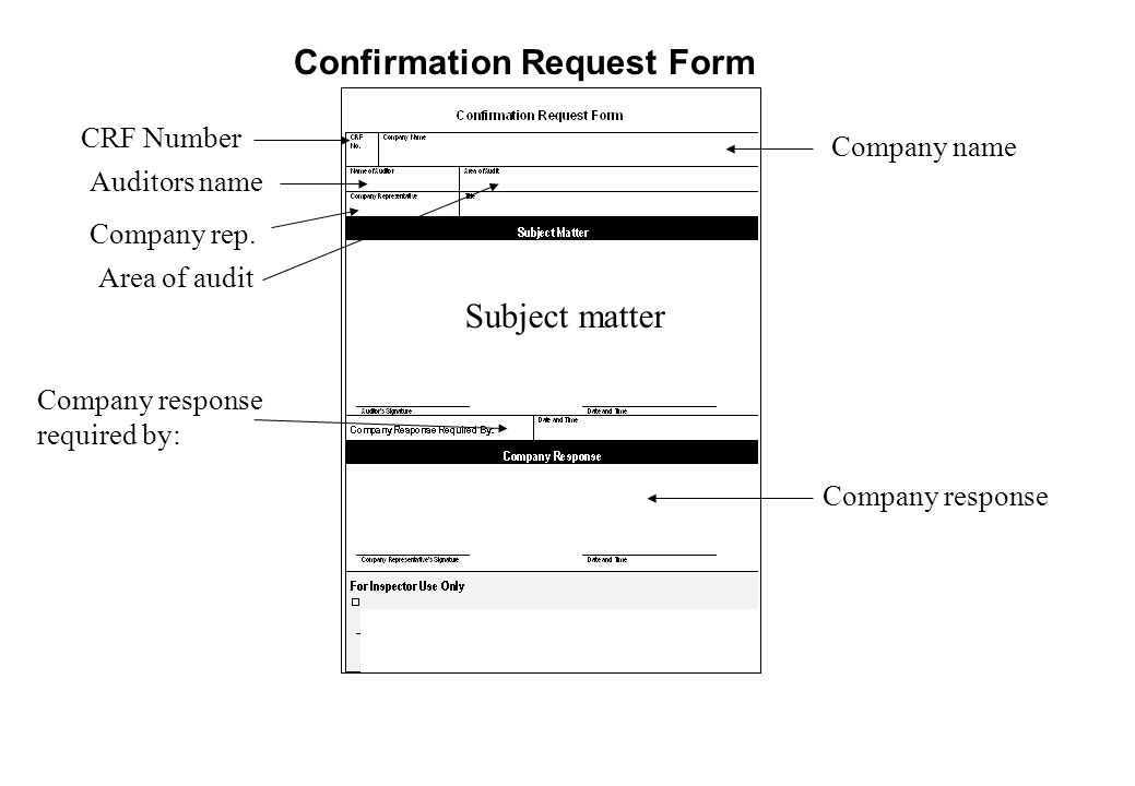 Confirmation Request Form