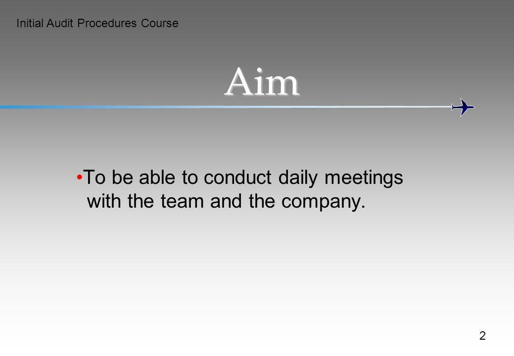 Initial Audit Procedures Course