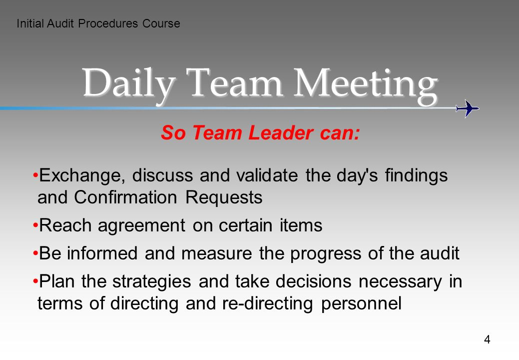 Daily Team Meeting So Team Leader can: