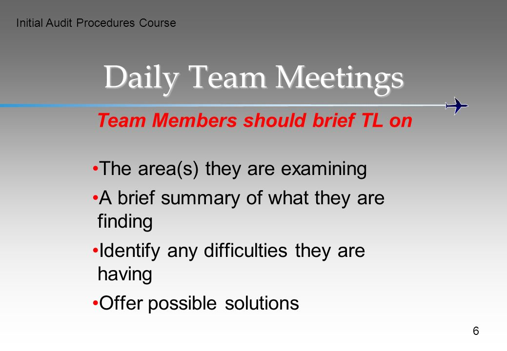 Team Members should brief TL on