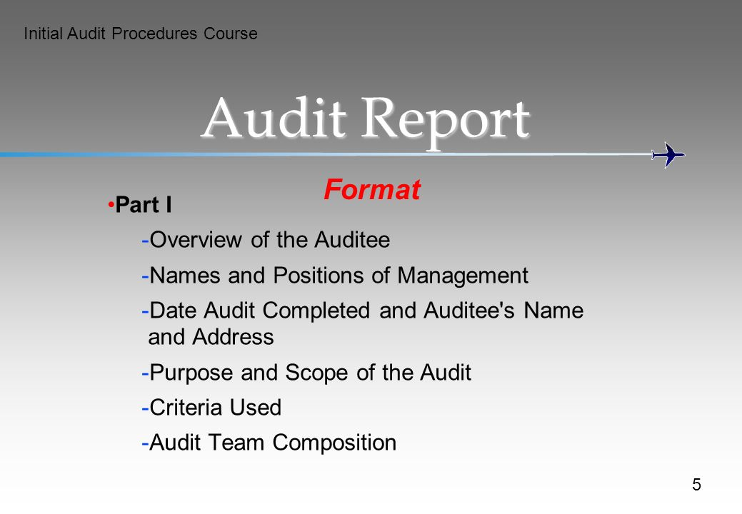 Audit Report Format Part I Overview of the Auditee