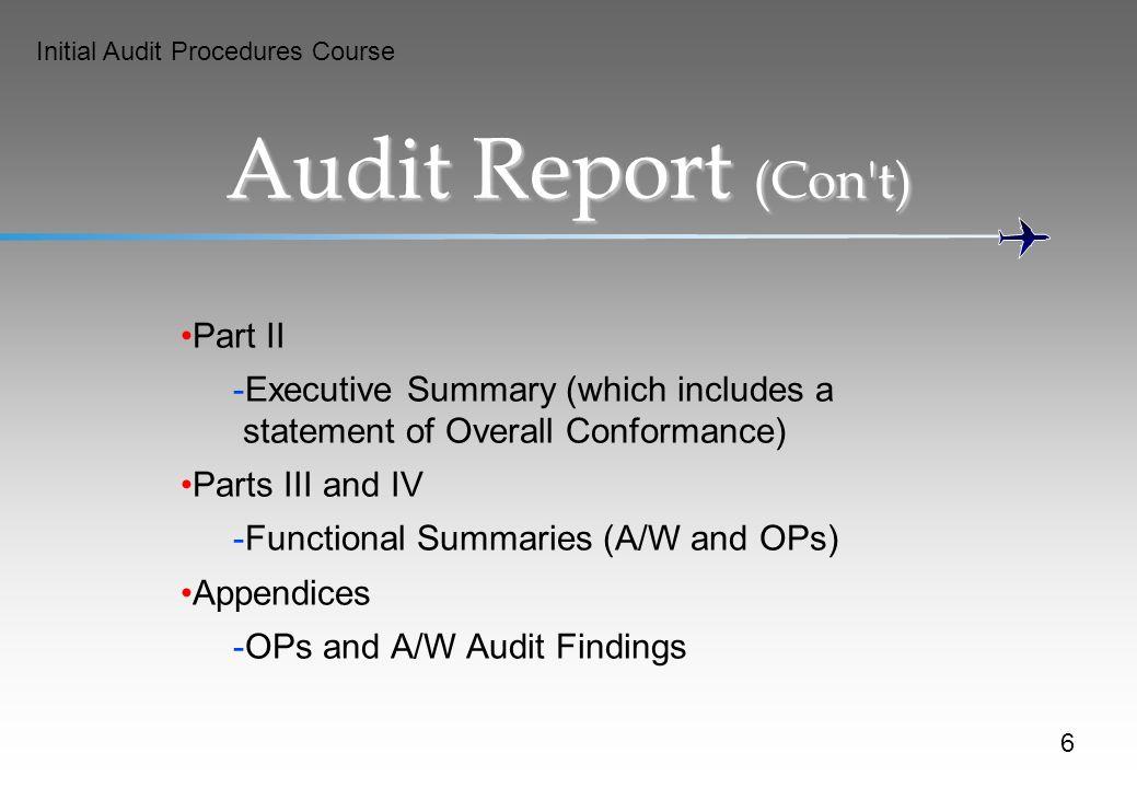 Audit Report (Con t) Part II