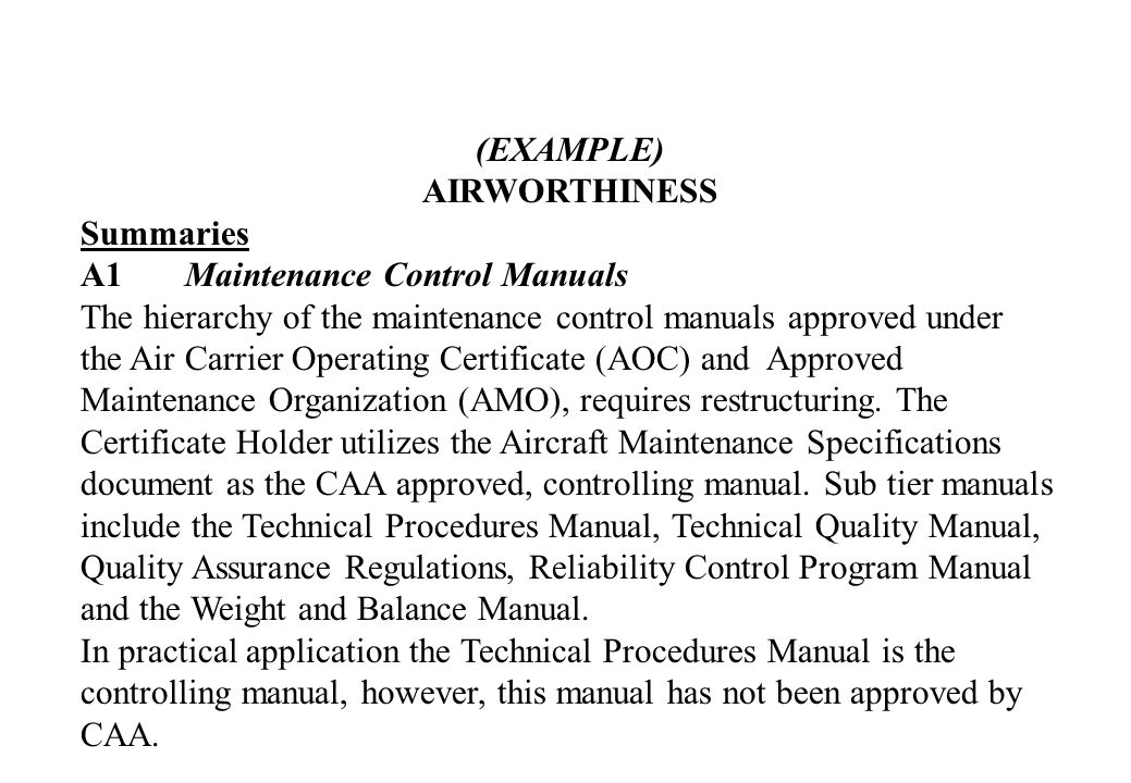 (EXAMPLE) AIRWORTHINESS. Summaries. A1 Maintenance Control Manuals.