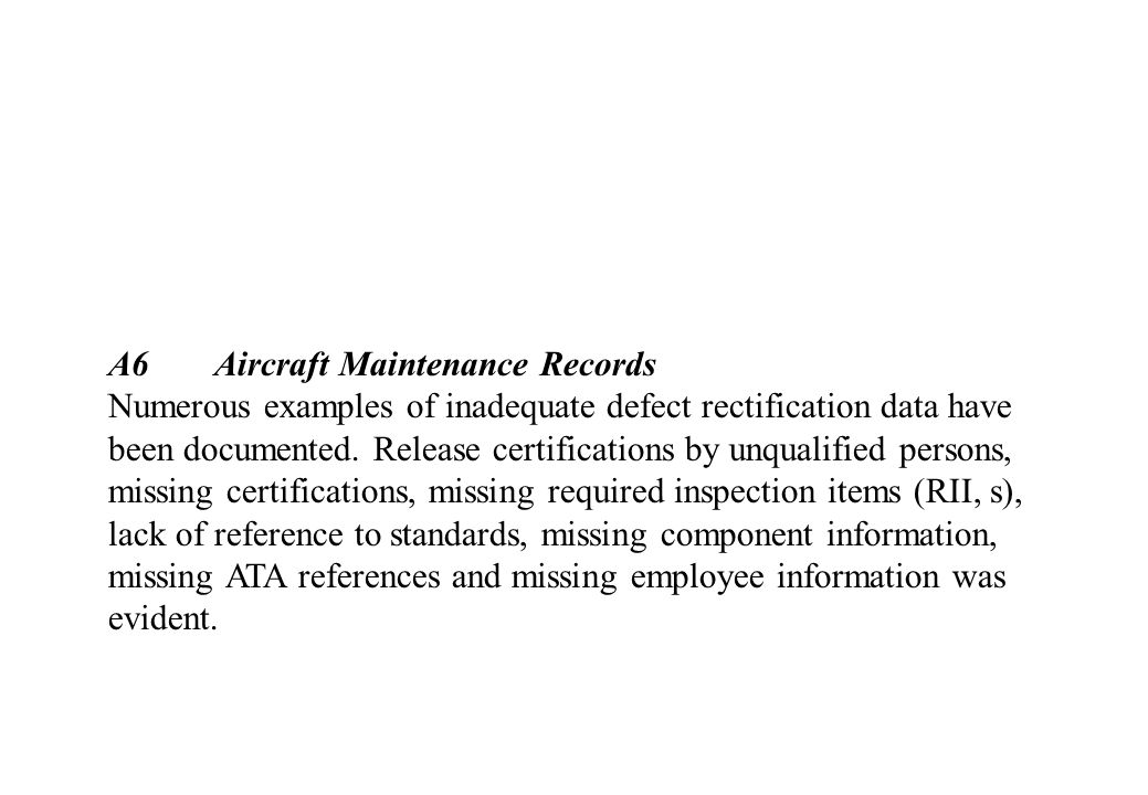 A6 Aircraft Maintenance Records