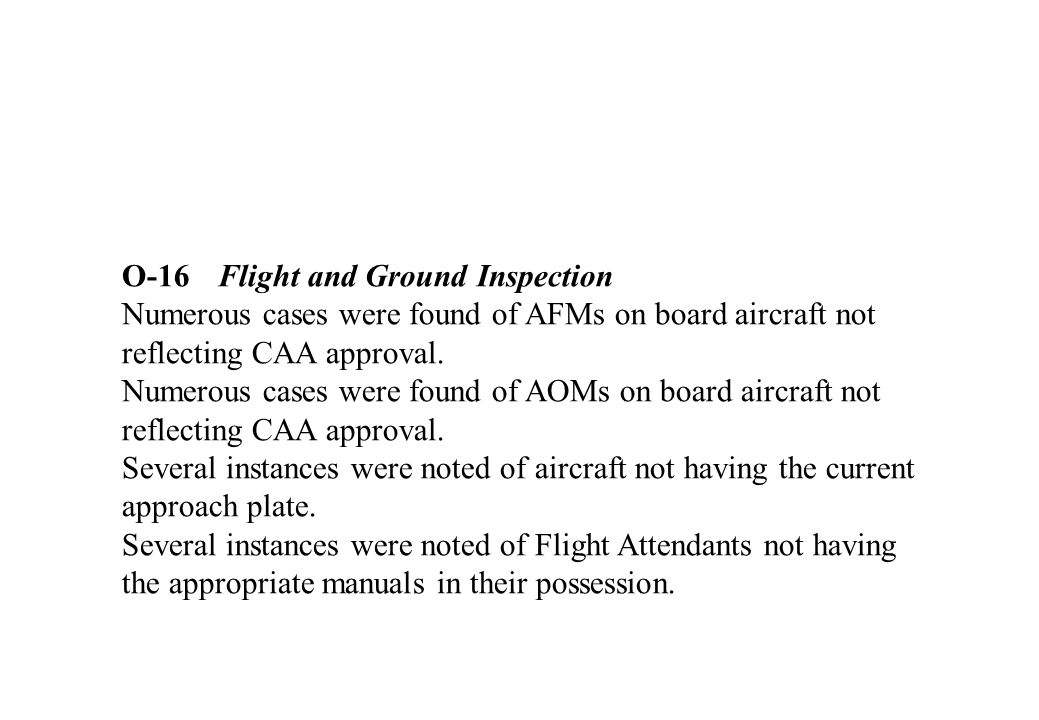 O-16 Flight and Ground Inspection