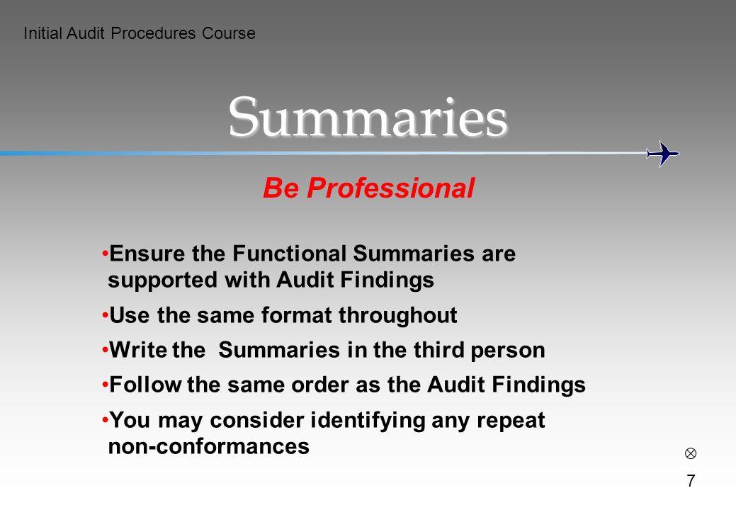 Summaries Be Professional