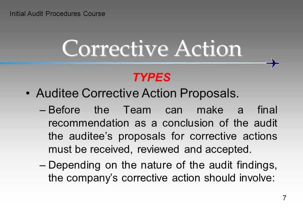 Corrective Action Auditee Corrective Action Proposals. TYPES