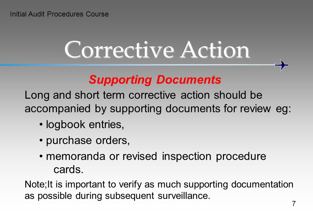 Corrective Action Supporting Documents