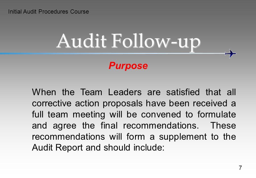 Audit Follow-up Purpose