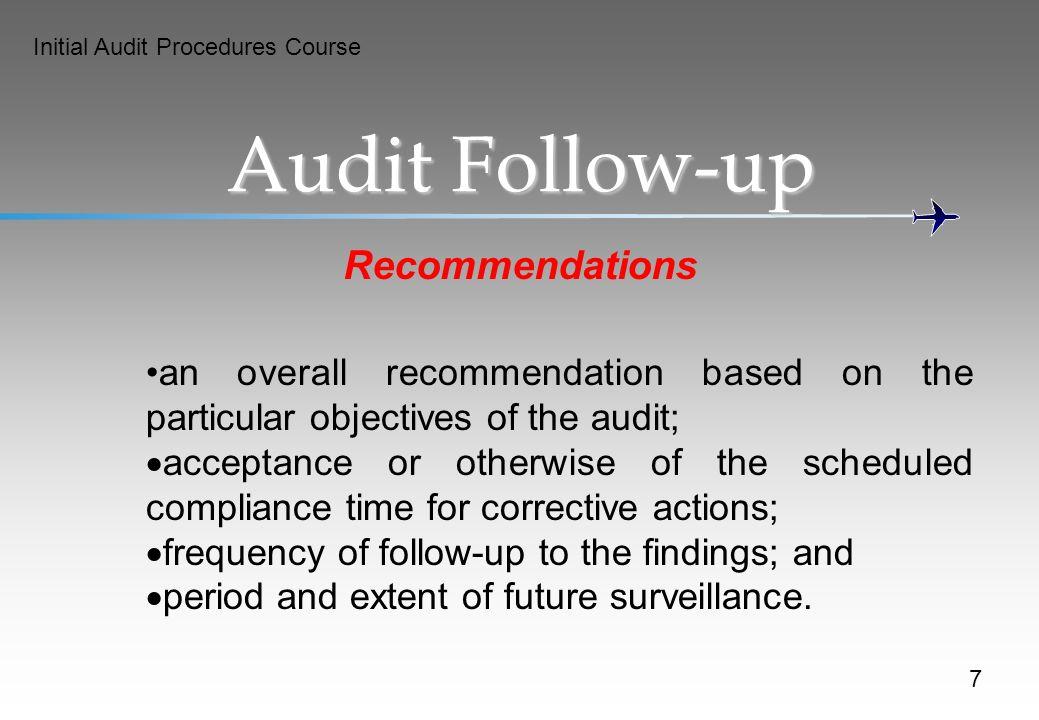 Audit Follow-up Recommendations