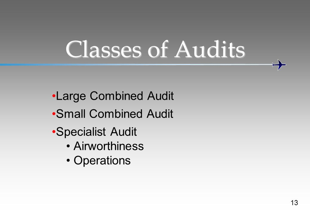 Classes of Audits Large Combined Audit Small Combined Audit