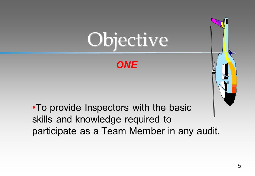Objective ONE. To provide Inspectors with the basic skills and knowledge required to participate as a Team Member in any audit.