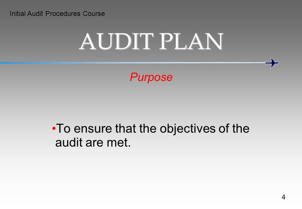 AUDIT PLAN To ensure that the objectives of the audit are met. Purpose