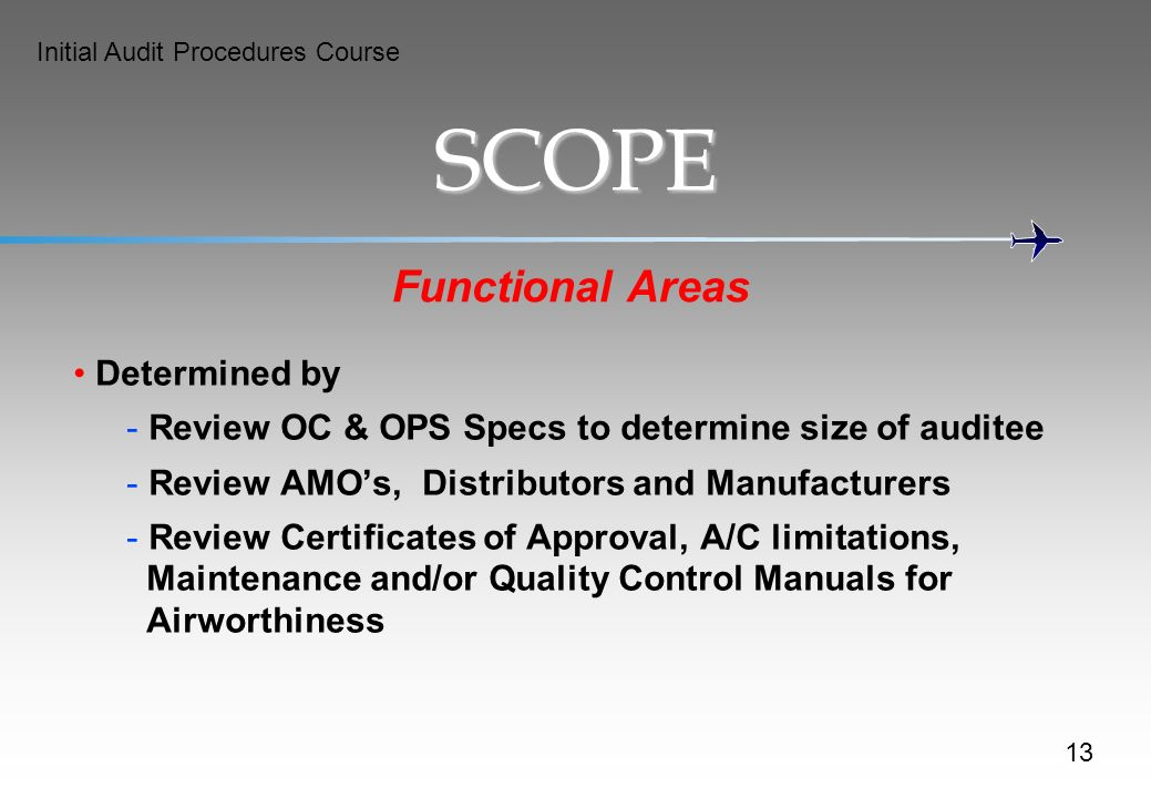 SCOPE Functional Areas Determined by
