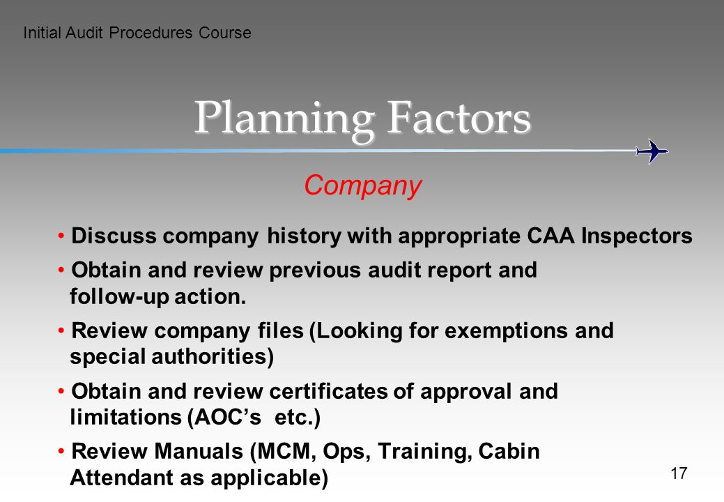 Planning Factors Company