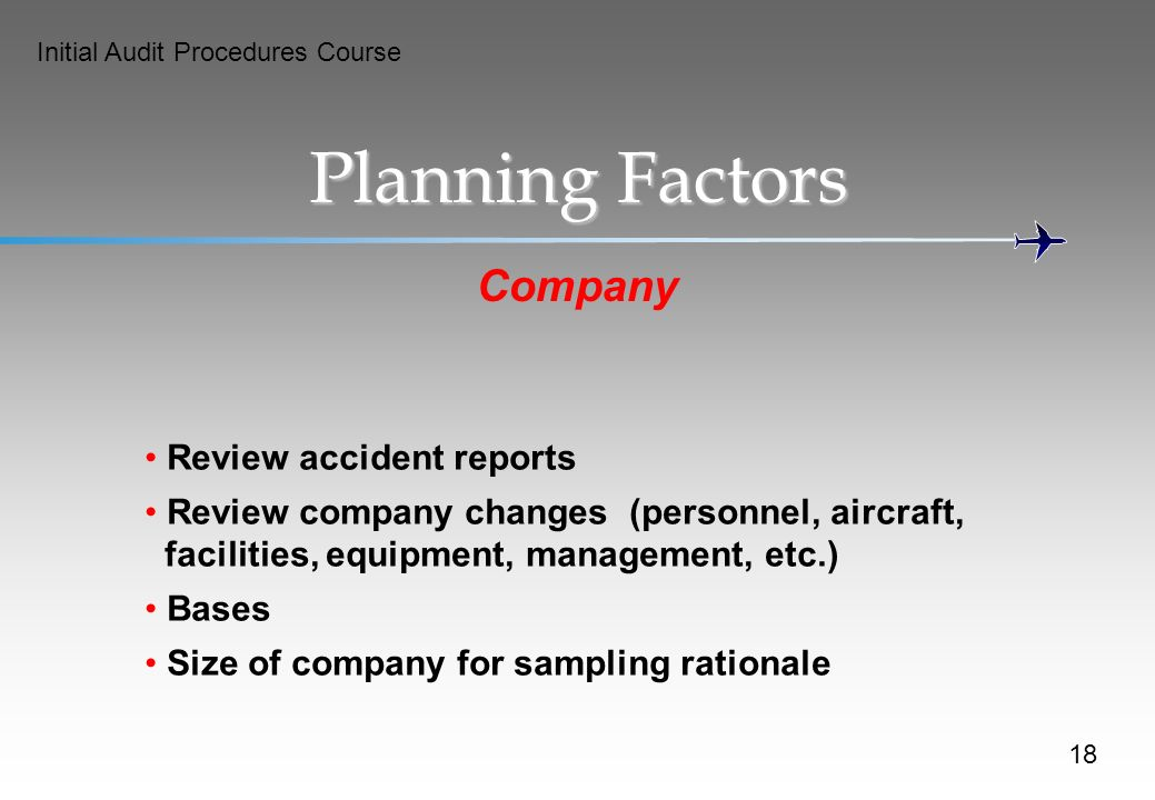 Planning Factors Company Review accident reports