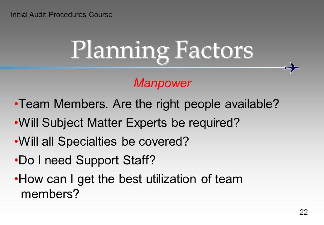 Planning Factors Manpower