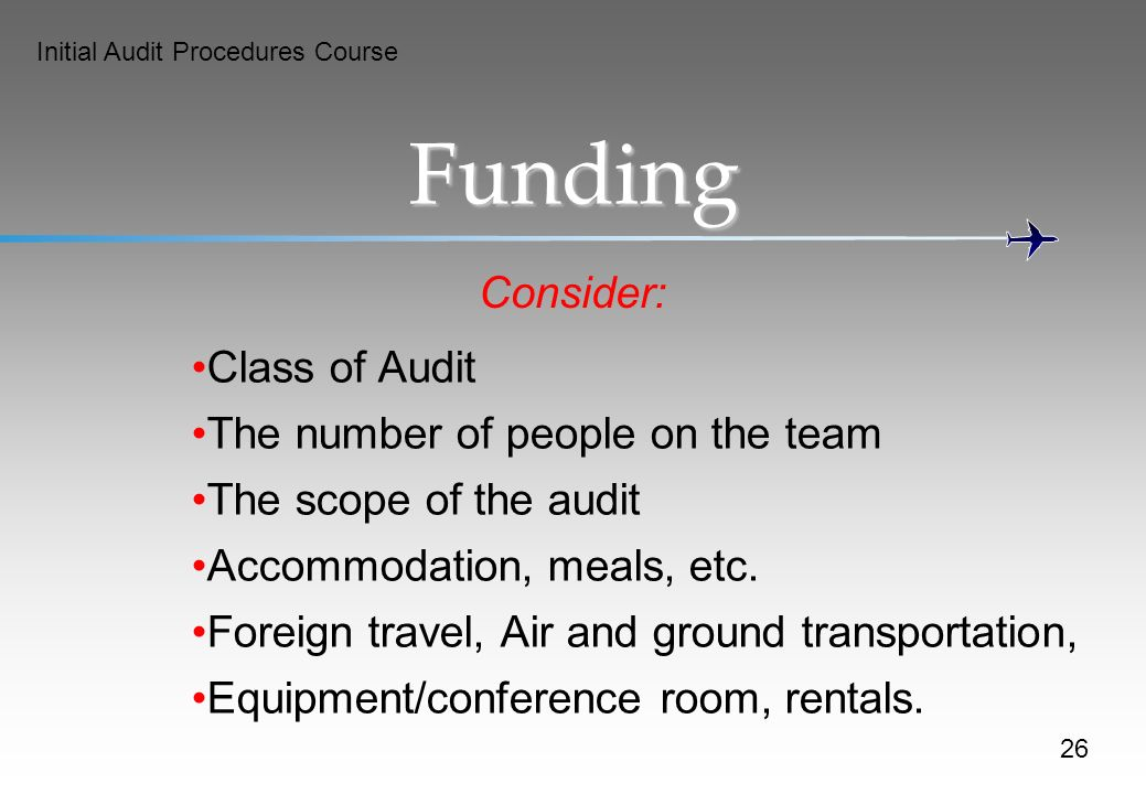Funding Consider: Class of Audit The number of people on the team