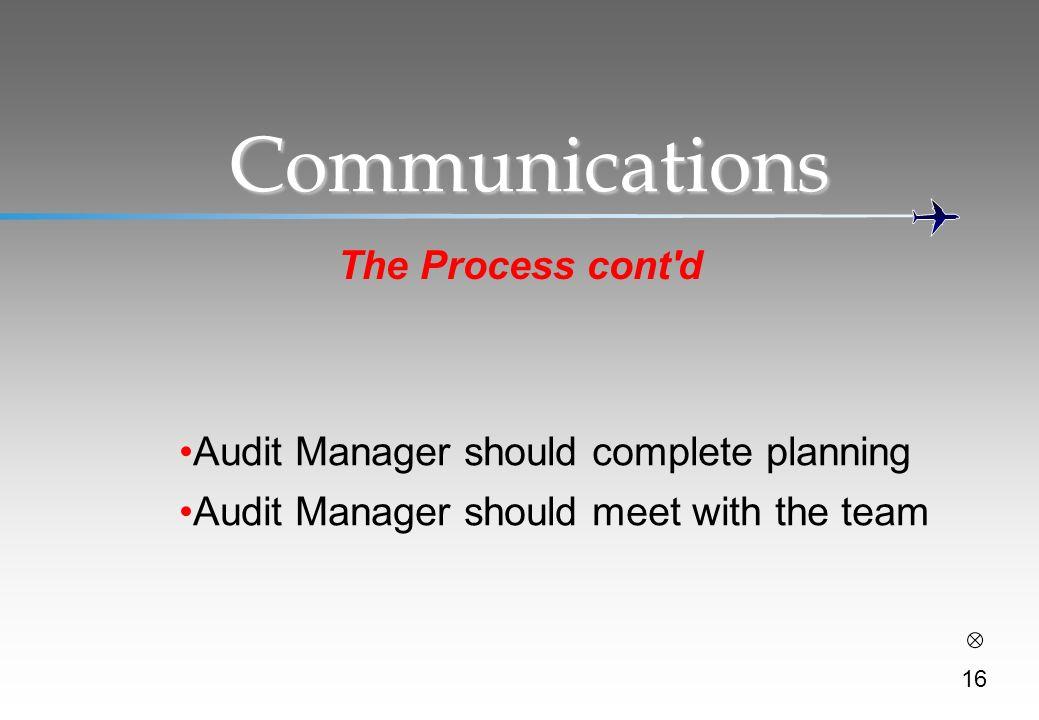 Communications The Process cont d