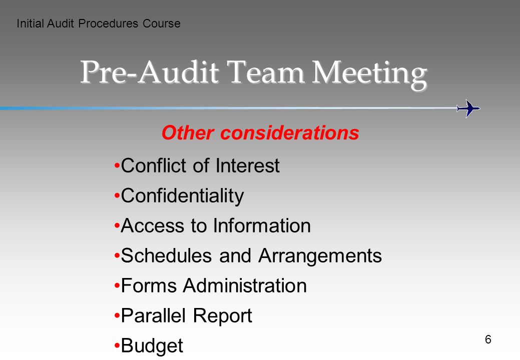Pre-Audit Team Meeting