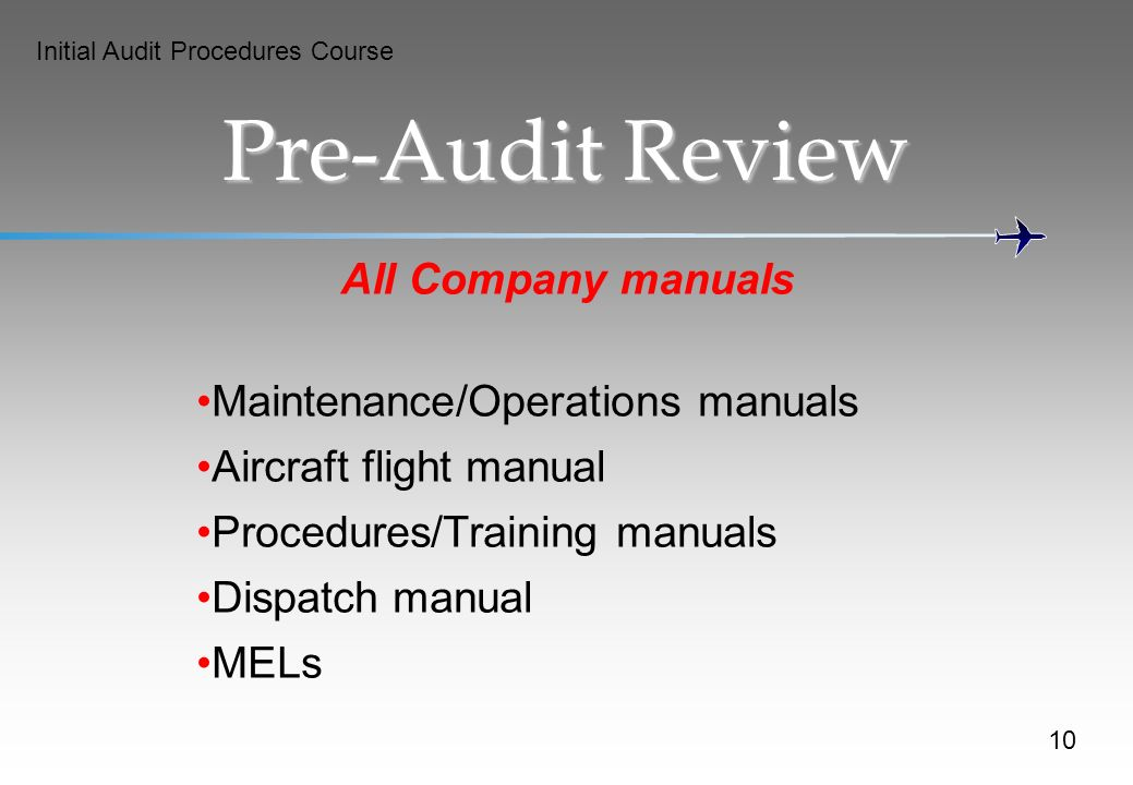 Pre-Audit Review All Company manuals Maintenance/Operations manuals