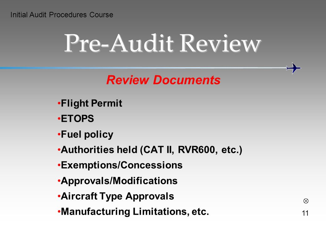 Pre-Audit Review Review Documents Flight Permit ETOPS Fuel policy